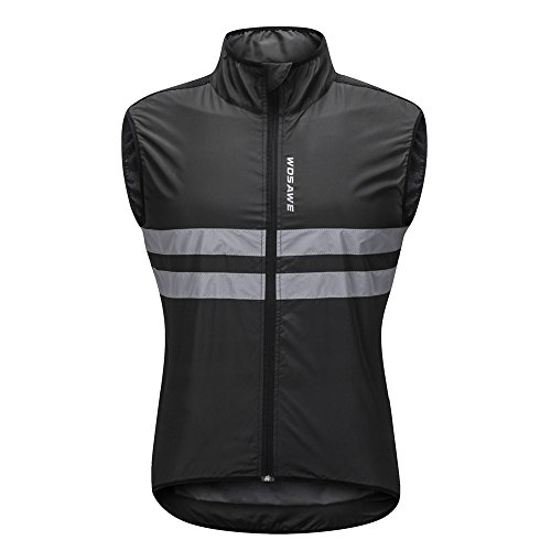 WOSAWE Hombres Ropa Ciclismo, Transpirable Chaqueta de Ciclismo Cortavientos Alta Visivilidad Chaleco Reflectante de MTB (BL205 Chaleco Negro M)