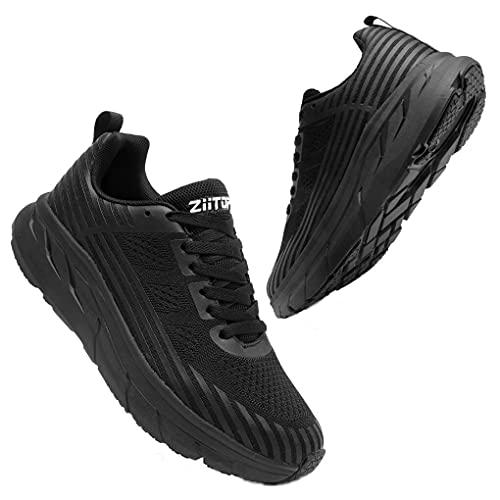 Zapatos para Correr Hombre Mujer Zapatillas de Deportes Tenis Deportivas Running Calzado Carretera Trekking Sneakers Gimnasio Transpirables Casual Montaña Negro 39 EU