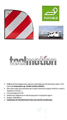 V-20 Panel Homologada para Carga Que sobresalga para Portabicicletas, Placa V-20 Fabricada Polipropileno PP Flexible Medidas 50x50cm