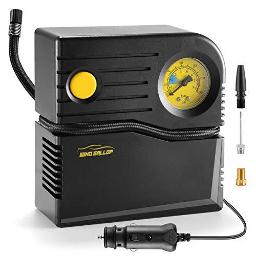 WindGallop Compresor Aire Coche 12v Inflador Ruedas Coche Hinchador Electrico Bicicleta Mini Compresor de Aire Portatil Bomba de Aire con Manómetro de Neumáticos y Adaptadores de Válvulas (Amarillo)