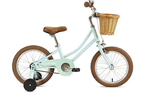 FabricBike Kids - Bicicleta con Pedales para niño y niña, Ruedines de Entrenamiento Desmontables, Frenos, Ruedas 12 y 16 Pulgadas, 4 Colores (Classic Green, 16': 3-7 Años (Estatura 96cm - 120cm))