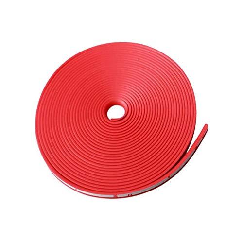 Voarge Anillo protector para rueda de coche, protege la línea de protección de los neumáticos, decoración de goma, tiras antiácaros, 8 m x 8,2 mm, rojo