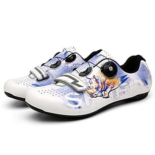 JQKA Zapatillas de Ciclismo MTB para Hombres Mujer Zapatillas De Bicicleta de Montaña Zapatillas Ciclismo Carretera Antideslizantes Respirables Calzado de Ciclismo(Size:41,Color:Blanco)