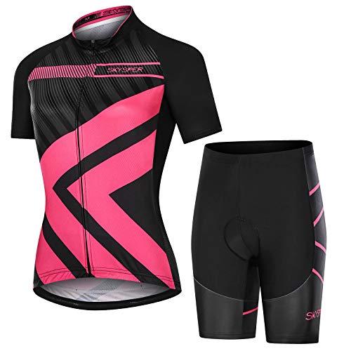SKYSPER Ciclismo Maillot Mujer Jersey Pantalones Cortos Culote Mangas Cortas de Ciclismo Conjunto de Ropa Maillot Transpirable para Deportes al Aire Libre Ciclo Bicicleta