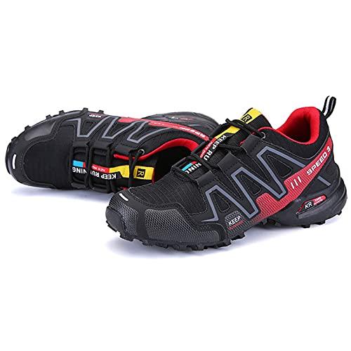WYUKN Zapatillas de Ciclismo, Zapatillas MTB,Calzado para Ciclismo Calzado para Bicicleta de Carretera para Hombre,Black+Red-48EU