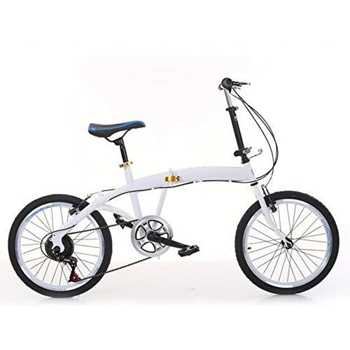 Bicicleta plegable de Jasemy, 7 velocidades, 20 pulgadas, 7 velocidades, color blanco