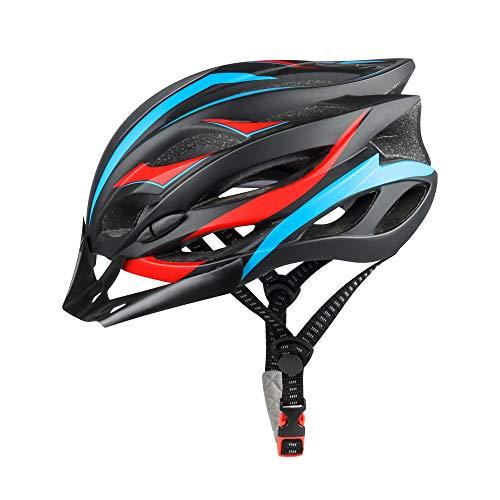 DesignSter Casco de Bicicleta Moldeado integralmente con luz LED de Seguridad, Casco de Bicicleta Ajustable con Visera Desmontable/Forro de Repuesto, Casco Transpirable para Ciclismo de Carretera