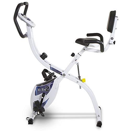 Tecnovita Bicicleta Estática X-Tri 2 YF910 Bicicleta Plegable con 3 Posiciones. Volante equivalente a 10 Kg. Respaldo