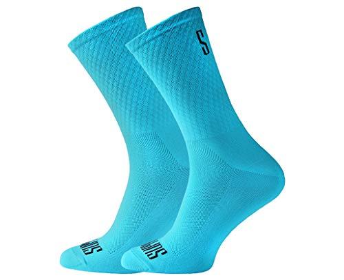 Support Calcetines de Ciclismo para Hombres tecnología Transpirable Fibra Antideslizante Divertidos Unisex Ciclistas para Senderismo Caminata Escalada Ciclismo, Blue's, Talla 39-41 EU