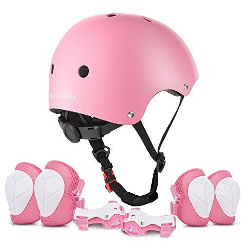ValueTalks Protección Patinaje, Protección Infantil Consta de Casco Ajustable Rodilleras Coderas, Patinaje Ciclismo Monopatín y Deportes Extremos(Rosa