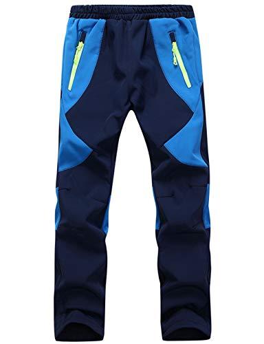 DAFENP Niño Montaña Pantalones al Aire Libre Impermeables Pantalones de Nieve Invierno Calentar Transpirable Softshell Pantalones Niñas Senderismo Pantalones Trekking KZ2001-Navy Blue-L