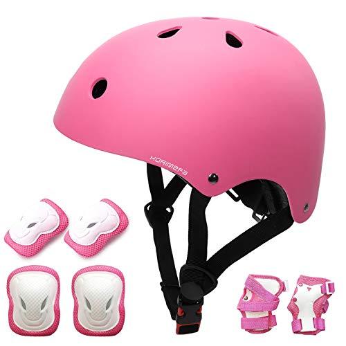 KORIMEFA Casco Infantil Equipo de Protección Patinete con Casco Adjustable certificación CE Rodilleras Coderas para Bicicleta Monopatín y Deportes Extremoscon de 3 a 13 años (m, Rosa)