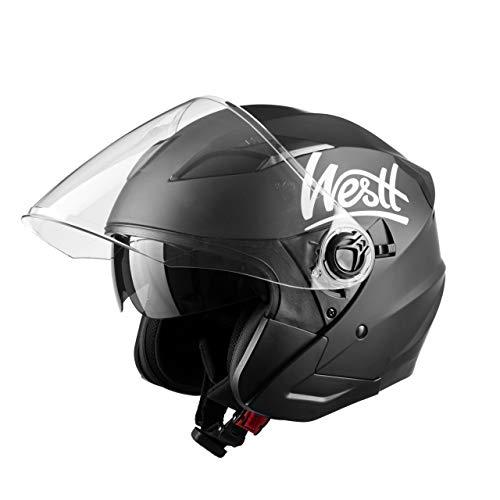 Westt W-001 M Jet - Casco de Moto Abierto con Doble Visera para Motocicleta/Scooter, Certificado ECE, Negro Mate, M (57-58 cm)