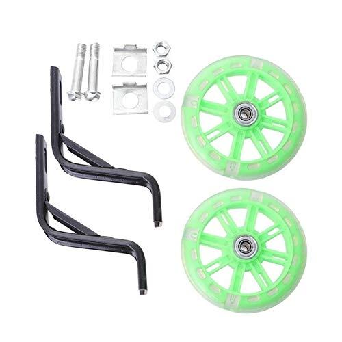 LBY 2 Piezas de la luz Intermitente de la Rueda niños de la Bici Silencio Auxiliar Accesorios de la Bicicleta con 12 Pulgadas de Soporte (Negro) (Color : Green)
