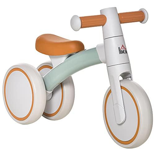 HOMCOM Bicicleta sin Pedales para Niños de 1-3 Años Bicicleta de Equilibrio con 3 Ruedas Silenciosas Correpasillos Triciclo de Bebé 60x24x37 cm Marrón