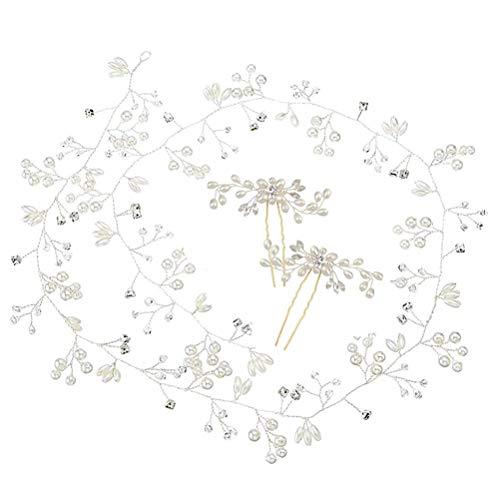 Diadema para novia, 3 unidades, de cristal, con perlas plateadas, estilo vintage, para mujeres y niñas en bodas, fiestas o eventos casuales