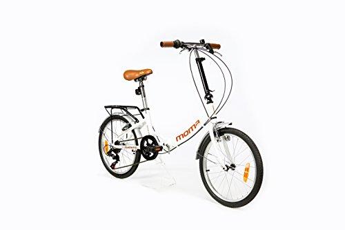 Moma Bikes Plegable Ruedas 20' Shimano. Aluminio Bicicleta, Unisex Adulto, Blanco