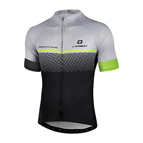 LAMEDA Maillot Ciclismo Hombre Ropa Camiseta Bicicleta MTB con Mangas Cortas(Gris-XL)*