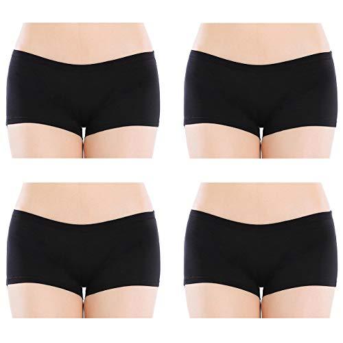 Closecret Lencería para Mujer Paquete de 6 Comfort Soft Boyshorts Bragas de Algodón Elástico (L(Cintura:76-81cm), 4 Negro)