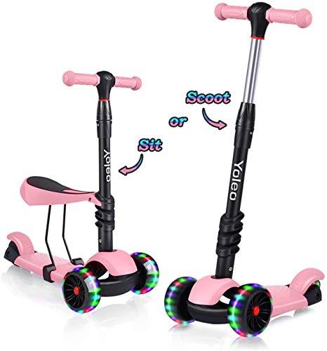 YOLEO Patinete para Niños 3-en-1, Scooter 3 Ruedas LED Parpadeantes, Scooter para Niños con Manillar Ajustable Asiento Extraíble de 2 a 8 años, Carga Máxima de 75 kg (Rosa)