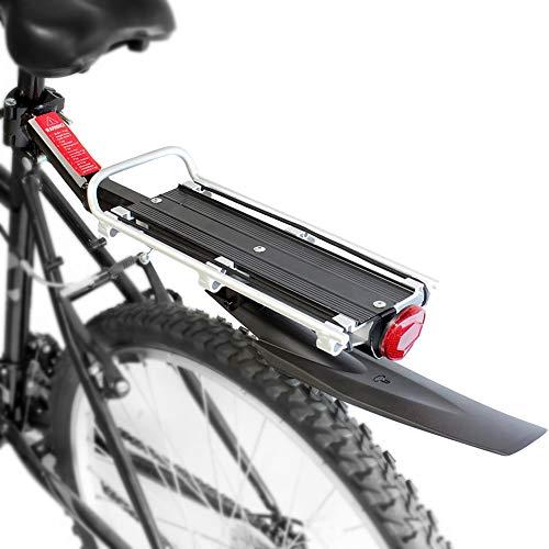 Portabicicletas trasero para bicicleta, Portaequipajes ajustable para equipaje de bicicleta con guardabarros y reflector, portaequipajes de liberación rápida para poste de asiento (Estante del bolso)
