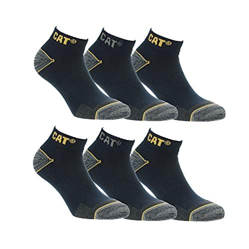 6 Pares calcetines bajos CAT Caterpillar, para hombre, reforzados en el talón y la punta, excelente calidad de Algodón (Azul, 39-42)