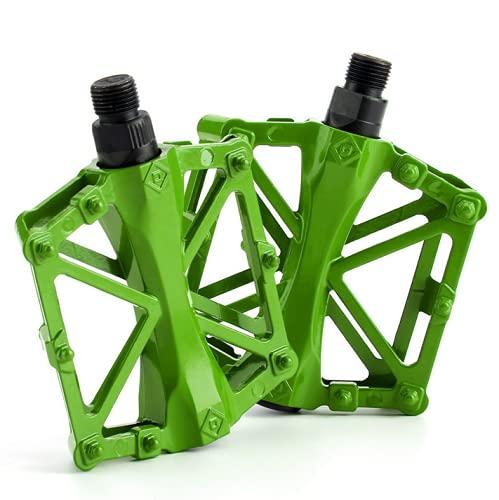 AIlysa Bicicleta de Montaña, Pedales Bici MTB de Montaña,, Aluminio Antideslizante 9/16 Pedales Ciclismo con Rodamiento Sellado, para Mountain Bike, Bicicleta BMX, Bici Carretera (Verde)