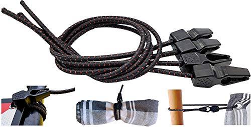 MAGMA 4 Tensores Elasticos, Cuerdas Elastica Sujetar Lonas, Toldos, Señal V20, Portabicicletas Longitud Ajustable Acampadas Camping FastClip 50cm
