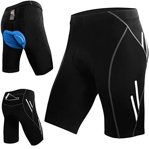 JOYSPACE Hombre Pantalones Cortos de Bicicleta Shorts de Ciclismo Hombre con 4D Acolchado MTB Ciclismo Pantalones Cortos Ropa Interior de Bicicleta estáticas,XL