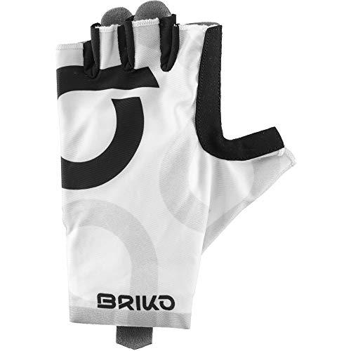 Briko Ultralight Glove Guantes Ciclismo, Hombre, White Black, XS