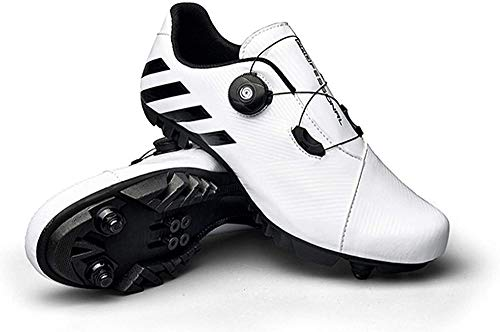 JINFAN Zapatillas de Ciclismo SPD MTB para Hombres y Mujeres, Ideales para Bicicletas de Montaña, Ciclo de Fondo, XC, Incluidas,White-40