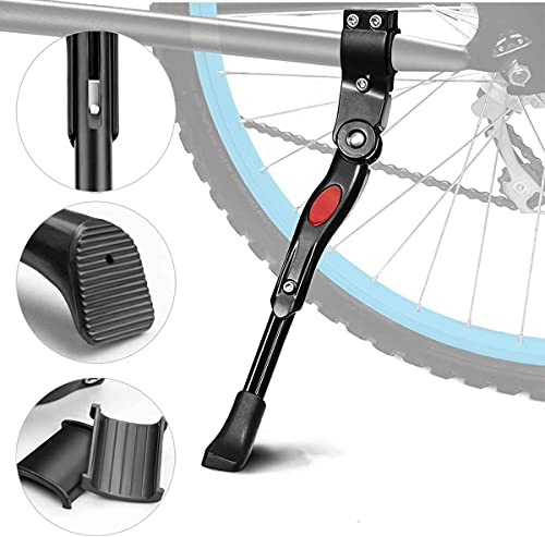 AIlysa Pata de Cabra para Bicicleta, Aleación Ajustable Lateral de Bicicleta con Pie de Goma Antideslizante, para MTB Montaña, Carretera, Plegable Bici 24-28'' (Negro)