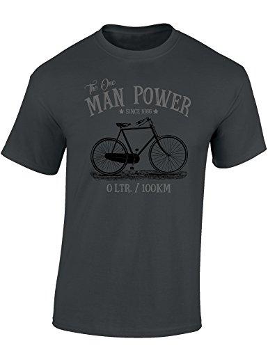 Camiseta de Bicileta: The One Man Power - Regalo Ciclistas - Bici - BTT - MTB - BMX - Mountain-Bike - Downhill - Regalos Deporte - Divertida-s - Ciclista - Retro - Fixie Shirt (3XL)