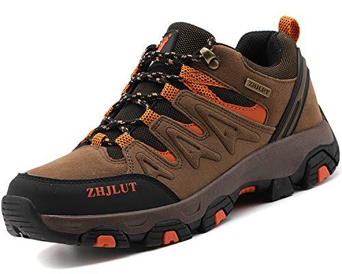 Lvptsh Zapatillas de Trekking para Hombre Botas de Montaña Zapatillas de Senderismo Calzado de Trekking Botas de Senderismo Antideslizantes AL Aire Libre Transpirable Sneakers,Marrón,EU45