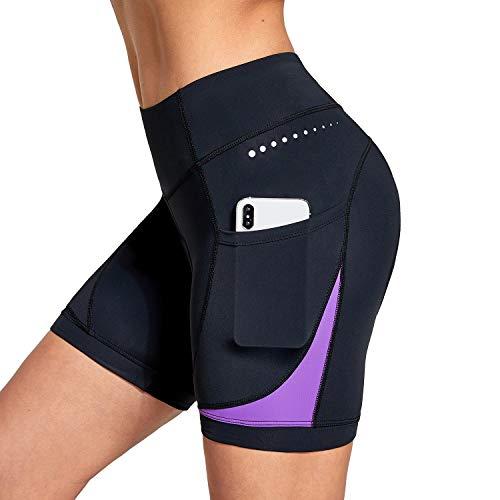 BALEAF Pantalones cortos de bicicleta para mujer de 5 pulgadas 4D acolchados bolsillos Ciclismo Bicicletas ropa interior Spin Gel acolchado UPF50+