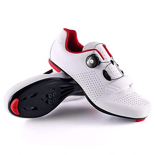 Hombre Zapatos de Ciclismo de Carretera para Blanco 45