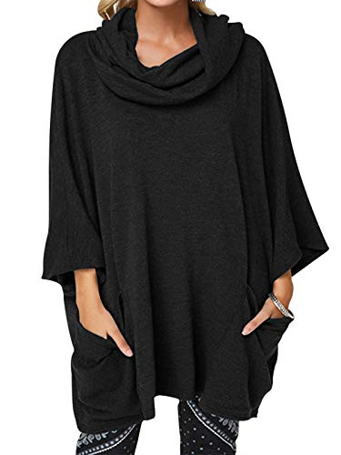 YOINS Jersey para Mujer, Parte Superior de Poncho, Invierno, asimétrico, para Mujer, Sudadera, Cuello Alto, Manga Larga