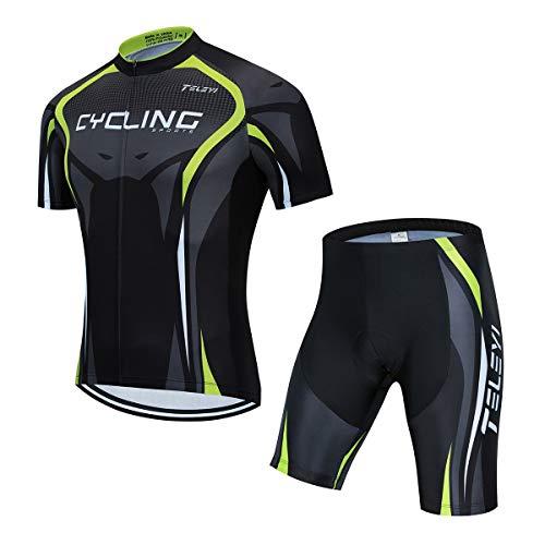 AICTIMO Traje Ciclismo Maillots Ciclismo Hombre Verano+ Pantalones Corto Ciclismo Acolchado de Gel Culotte y Maillot para MTB, Spinning, Bicicleta (verde1, M)