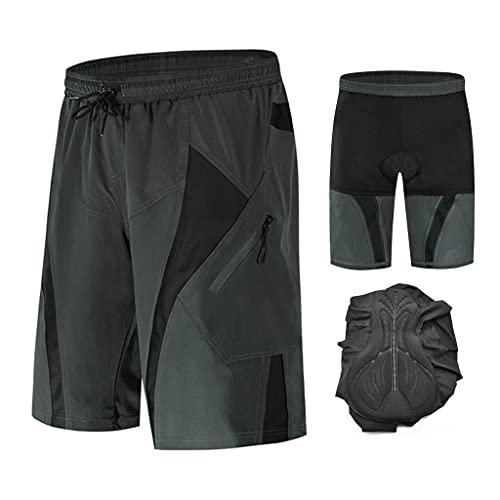 Beylore Pantalon Enduro MTB Holgado con Badana Gel 3D Culotte Transpirable Pantalon Cortos MTB Hombre Pantalon Mountain Bike Cintura Ajustable Ropa de Ciclismo MTB,Gris,M