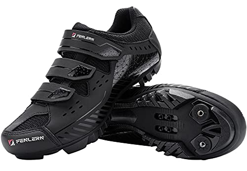 Fenlern Zapatillas de Ciclismo para Hombre,Zapatos de MTB,con Suela de Carbono y Triple Tira de...*