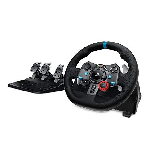 Logitech G29 Driving Force Volante de Carreras y Pedales, Force Feedback, Aluminio Anodizado, Palancas de cambio, Volante de Cuero, Pedales Ajustables, Enchufe EU, PS5, PS4, PC, Mac - Negro