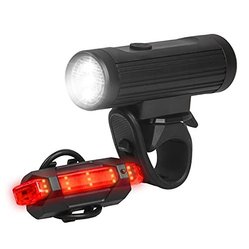 ANVAVA Luz Bicicleta Recargable USB, 600 Lúmenes LED Luces Bicicleta Delantera y Trasera, 4 Modos, IPX6 Impermeable Luces Seguridad para Ciclismo de Montaña y Carretera