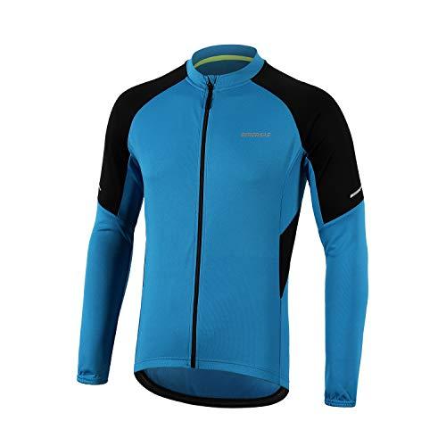 BERGRISAR BG012 - Jerseys básico de ciclismo de manga larga con cremallera y bolsillos - Azul - X-Large