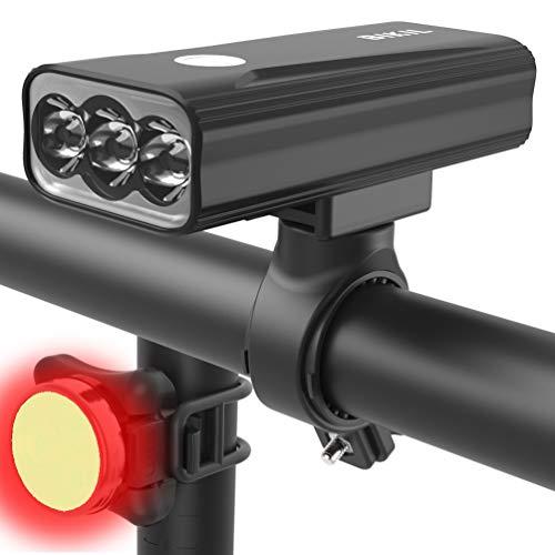 BIKIL luz bicicleta 6400mAh,luz delantera bicicleta Potente 2400 Lúmenes,luces bicicleta delantera y trasera recargable,Linterna LED Impermeable para Ciclismo Carretera y Montaña para la Noche