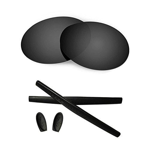 HKUCO For Oakley Romeo 1 Black Polarized Replacement Lenses Plus Black Earsocks Rubber Kit*