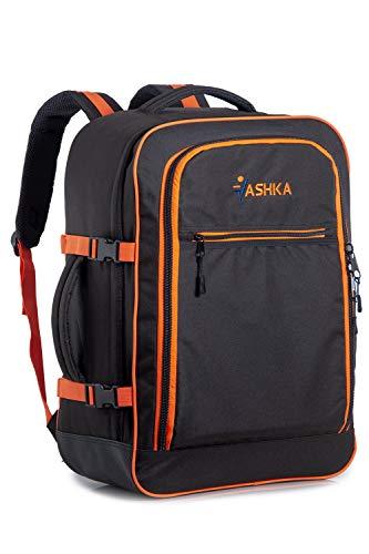 Mochila Vaska aprobada para Vuelo. Bolsa de Mano Massive de 44 litros Maleta de Viaje de Mano 55x40x20 cm, Color Negro - Naranja