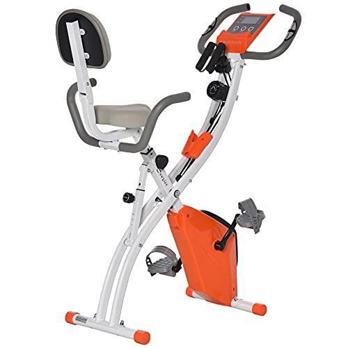 HOMCOM Bicicleta Estática Plegable con Altura y Resistencia Magnética Ajustables con Pantalla LCD y Asiento con Respaldo 97x51x115 cm Naranja