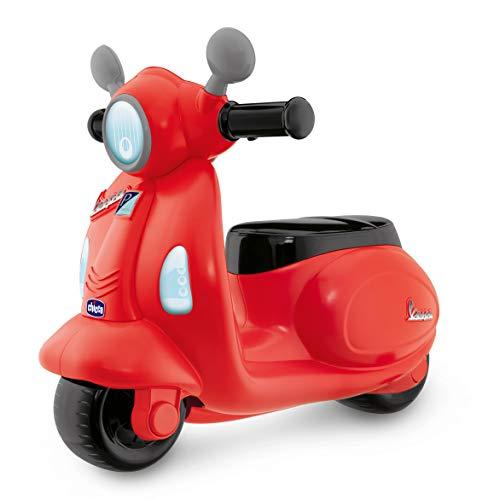 Chicco Vespa Primavera, Moto Correpasillos para Niños, Juguete para Niños con Panel Electrónico, Luz, Sonido y Ruedines Estabilizadores Extraíbles – Moto Para Niños de 1 a 3 Años, Máx. 20 Kg, Roja