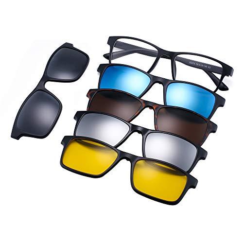 JIM HALO Magnético 5 Piezas Polarizadas Clip en Gafas de Sol Marco Plástico Rectángulo Para...*