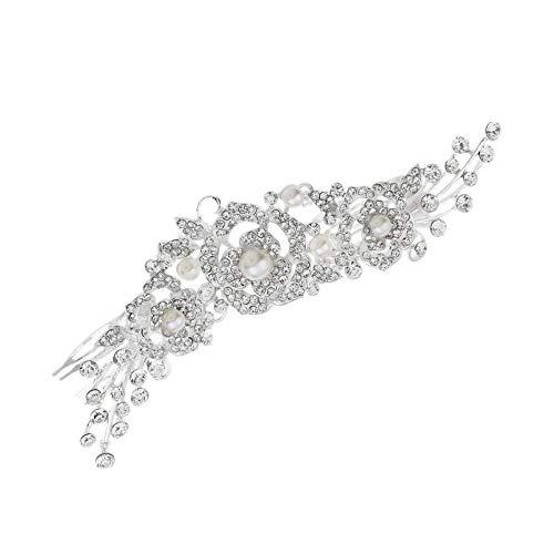 Tiaras Corona Mujer,Queen Crown Baroque Silver Rose Flower Imitación De Perlas De Cristal Peine Diademas Para Adultos Para Niñas Joyería Para El Cabello Nupcial Boda Fiesta De Cumpleaños Baile D